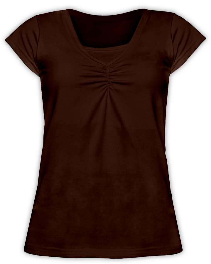 KLAUDIE- breast-feeding T-shirt, short sleeves, CHOCOLATE BROWN
