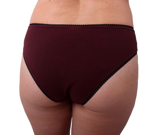 Dámské kalhotky bavlněné, vykrojený střih, bordo