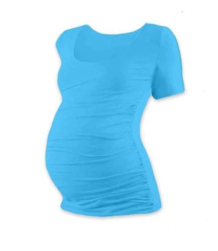 Tehotenské tričko Johanka, krátky rukáv, tyrkysové