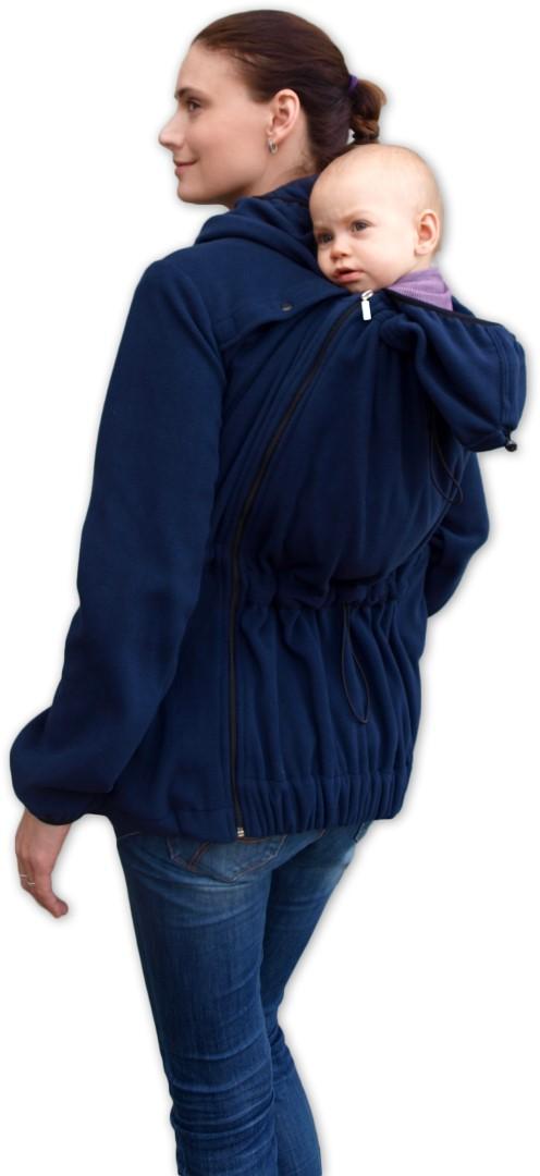 NELA- nosící fleece mikina s kapucí ( přední/zadní nošení ), tm. modrá