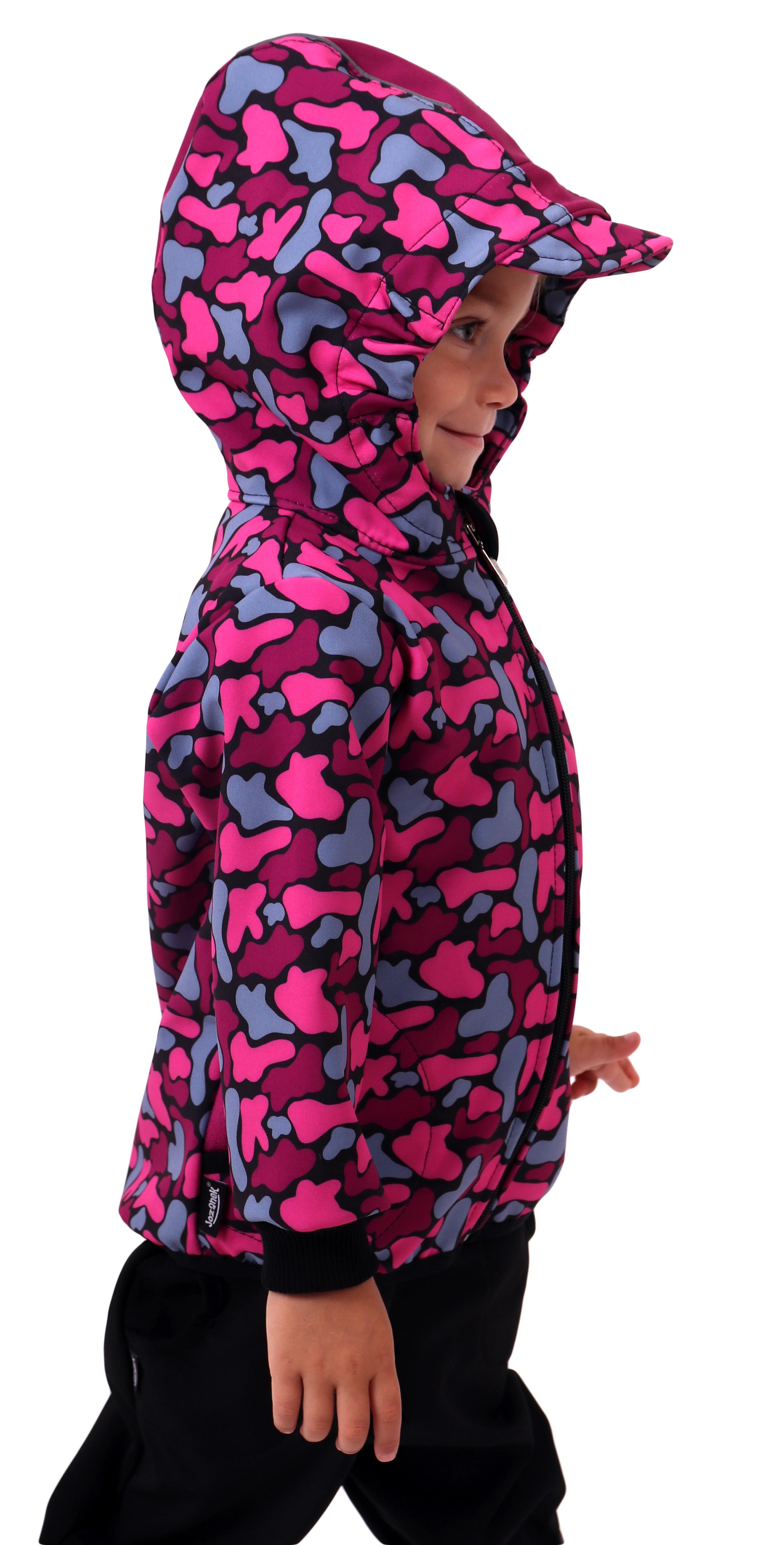 Dětská softshellová bunda, fleky růžové na černé, 140