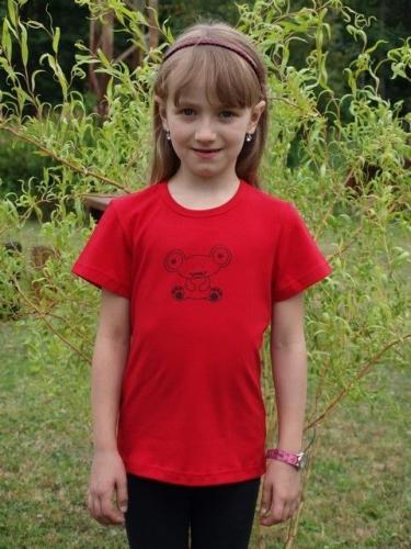detské tričko s KR, červené, mimozemšťan