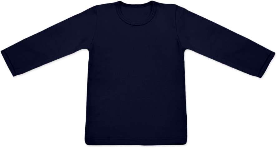 dětské tričko DLOUHÝ RUKÁV s elastanem, TMAVĚ MODRÁ