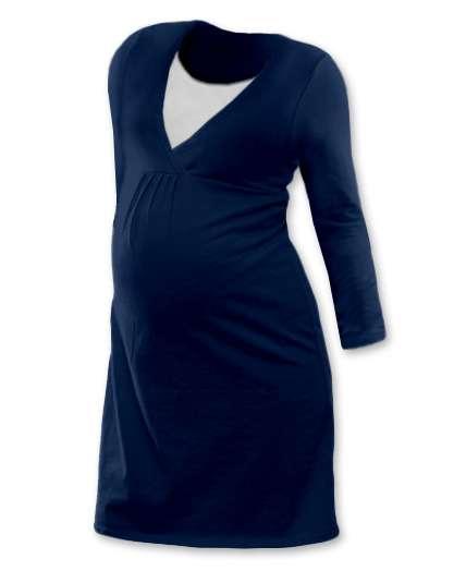 Dojčiace nočná košeľa Lucie, dlhý rukáv, tmavo modrá (jeans)