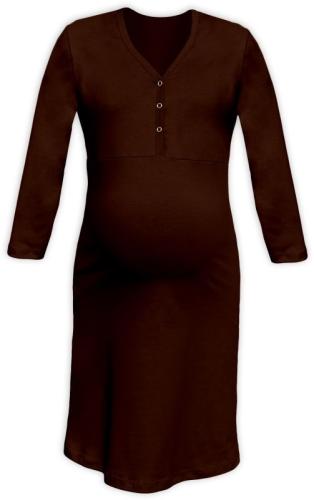 CECILIE- Nachthemd für schwangere und stillende Frauen, 3/4 Ärmel, schokoladenbraun