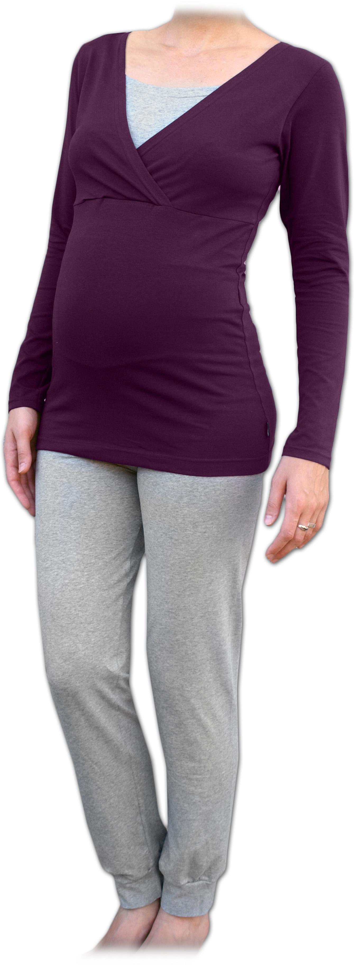 Těhotenské a kojicí pyžamo, dlouhé, švestkově fialové+šedý melír