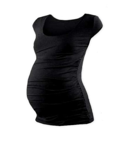 Tehotenské tričko Johanka, mini rukáv, čierne