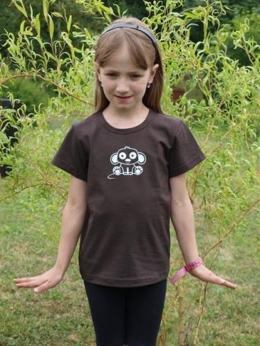 dětské tričko s KR, čokoládově hnědé, MYŠKA