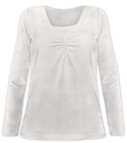 Dojčiace tričko Klaudie, vsadka vo farbe, dlhý rukáv, smotanová