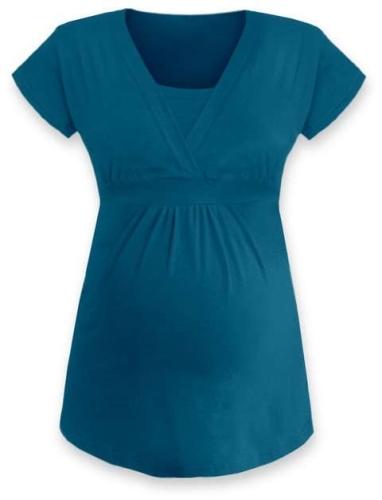 Těhotenská a kojicí tunika Anička, krátký rukáv, tmavý tyrkys