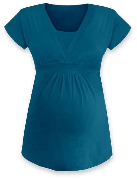 Těhotenská a kojicí tunika anička, krátký rukáv, tmavý tyrkys m/l