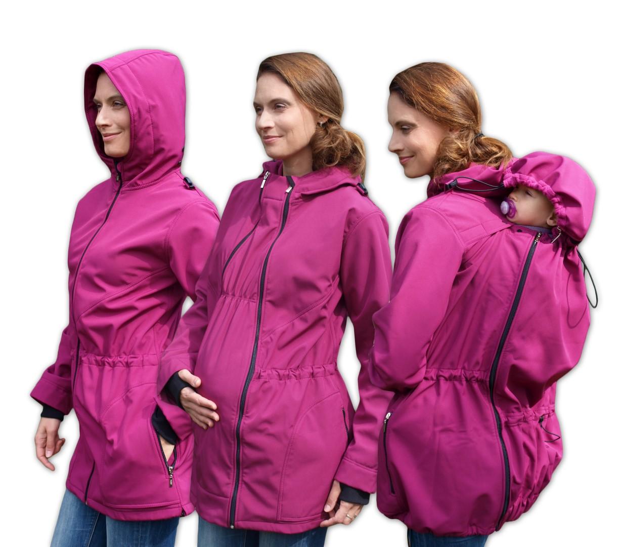 Softshellová těhotenská a nosící bunda Alice 2, fuchsiově růžová