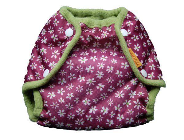 Nepromkovavé svrchní kalhotky na látkové pleny pul, fialové kytičky m 6-10kg