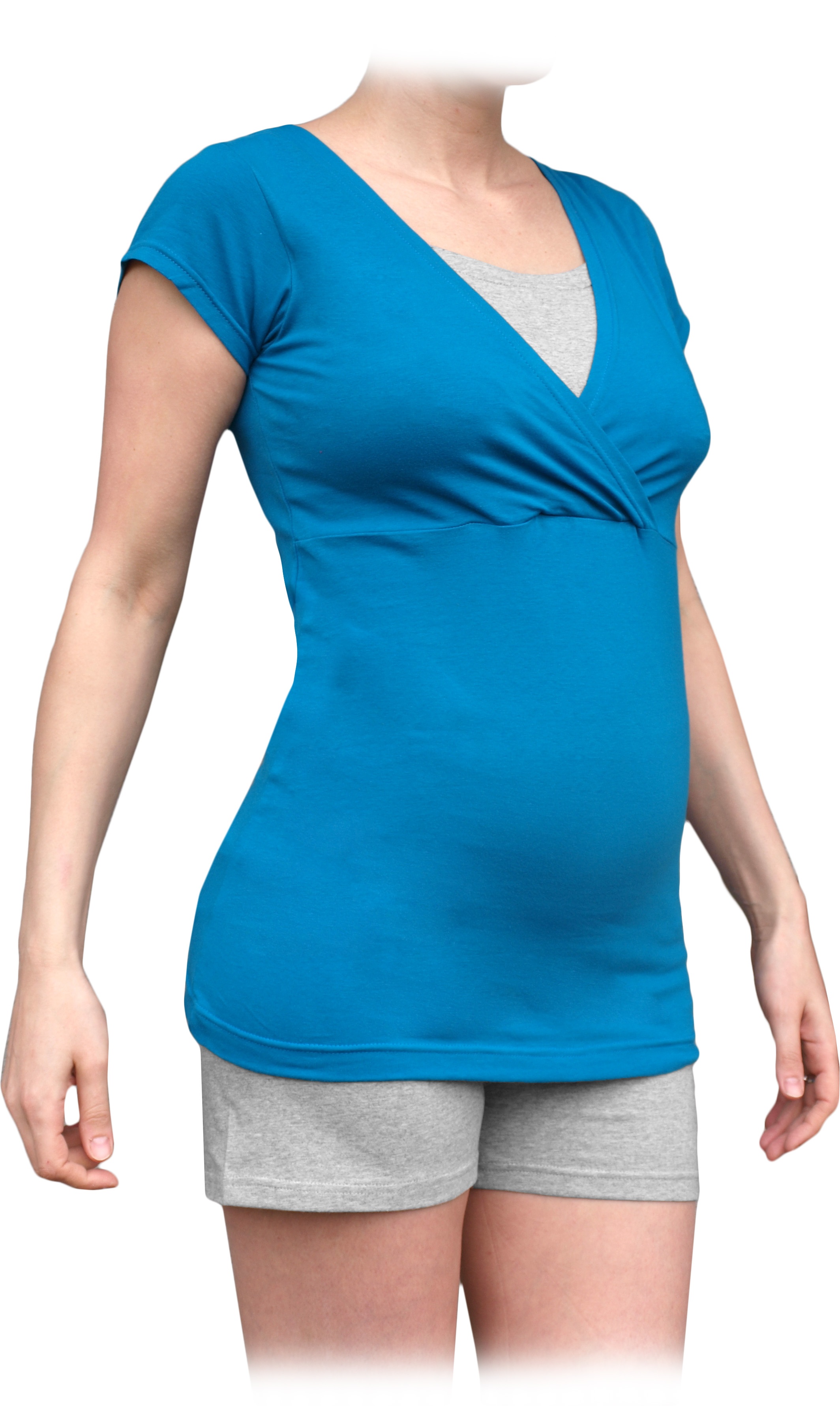 Těhotenské a kojicí pyžamo, krátké, petrolejové+šedý melír m/l