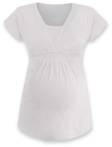 Těhotenská a kojicí tunika Anička, krátký rukáv, smetanová