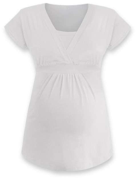Tehotenská a dojčiace tunika Anička, krátky rukáv, smotanová