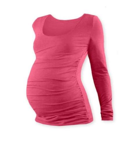 Tehotenské tričko Johanka, dlhý rukáv, lososovo ružovej