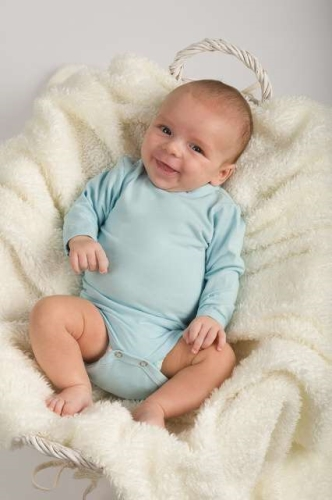 Baby cotton onesies with long sleeves, light blue