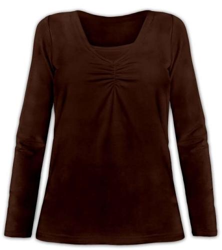 Dojčiace tričko Klaudie, vsadka vo farbe, dlhý rukáv, čoko hnedá