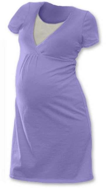 Kojicí noční košile Lucie, krátký rukáv, šeříkově fialová