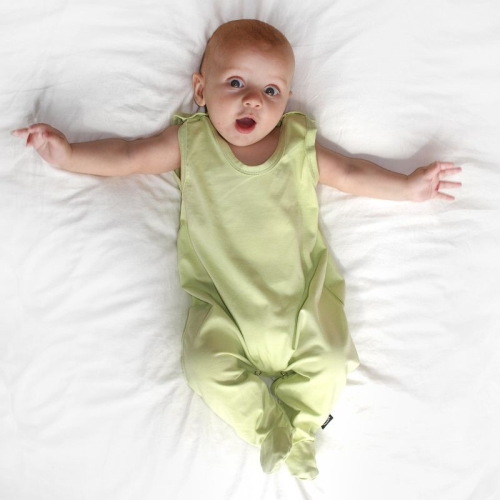 Infant playsuits, baby jumpsuits, rompers, light green