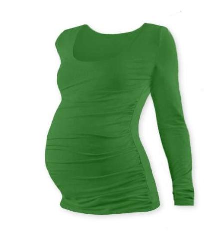Tehotenské tričko Johanka, dlhý rukáv, tmavo zelené