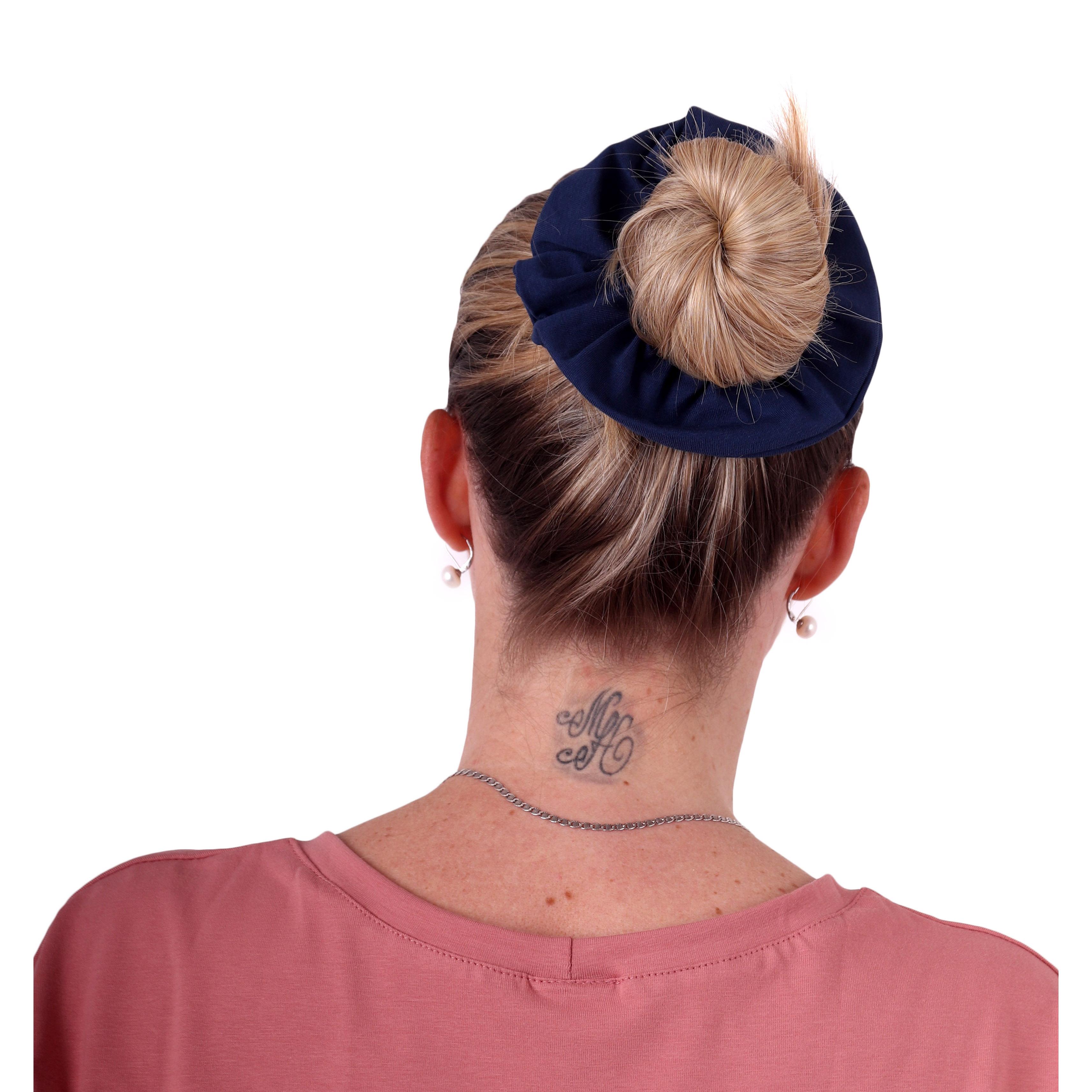 Látková gumička do vlasů, velká, jeans modrá