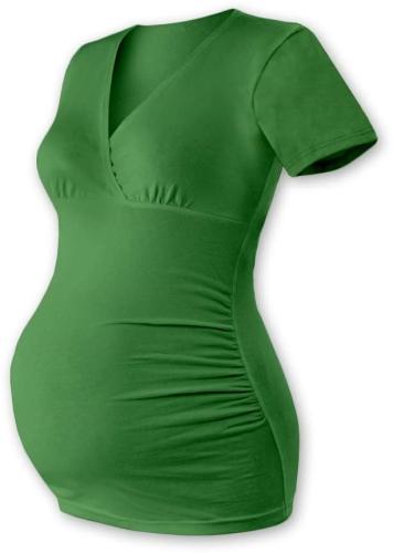 Těhotenská tunika Barbora, krátký rukáv, tmavě zelená