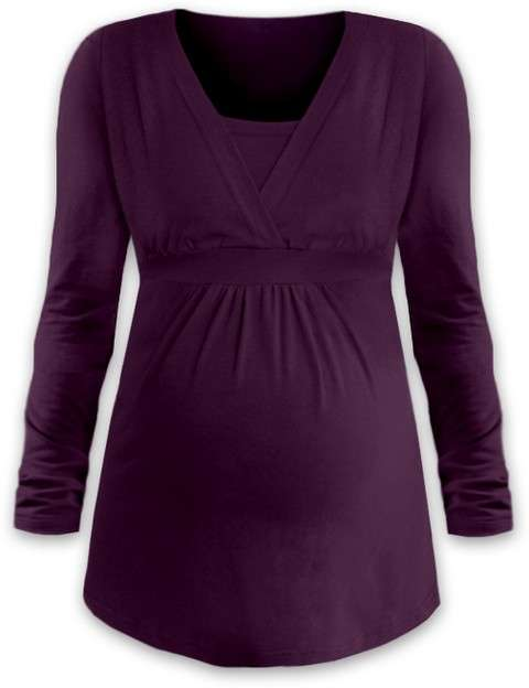Těhotenská a kojicí tunika anička, dlouhý rukáv, švestkově fialová l/xl
