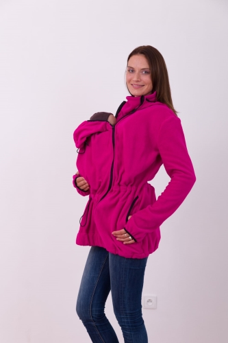 Babywearing fleece hooded sweatshirt Nina (front use only), dark pink