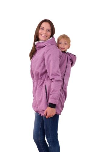 Babywearing softshell jacket Alice (front/back use), PINK MELANGE