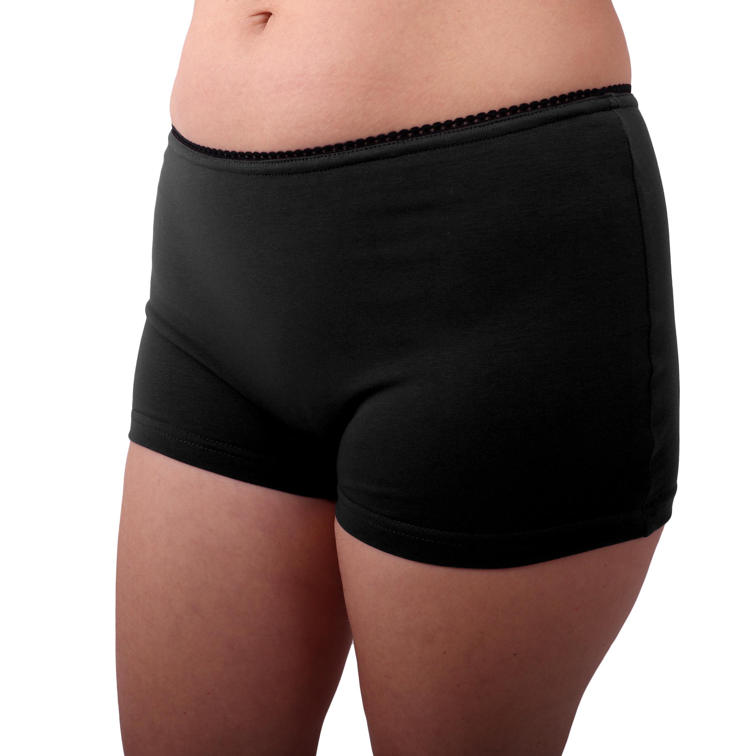 Dámské kalhotky bavlněné, nohavičkové, černé, 46