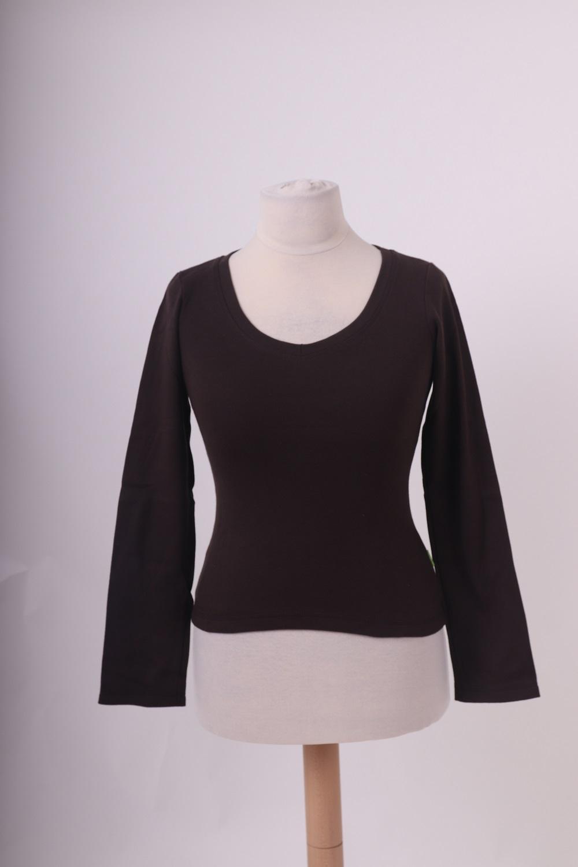 Bio-dámské tričko, dl. rukáv, hnedé, xs