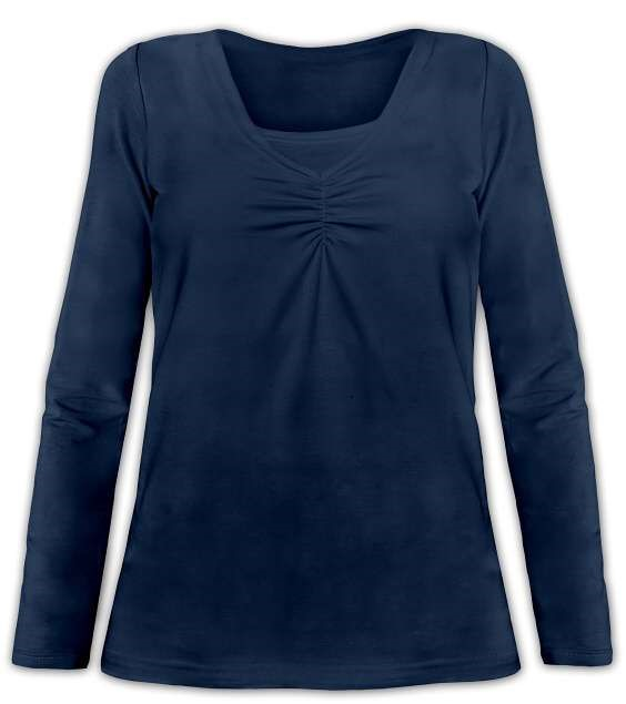 KLAUDIE- kojící tričko, vsadka v barvě, dlouhý rukáv, tm. modrá (