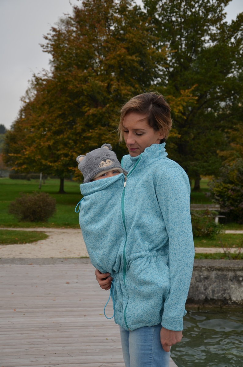 Nosící svetr Radka (přední/zadní nošení), tyrkysový