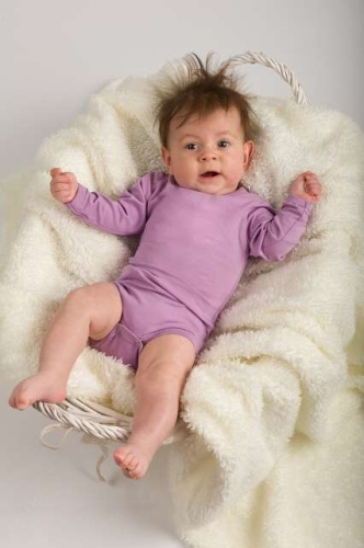 Baby cotton onesies with long sleeves, lavender