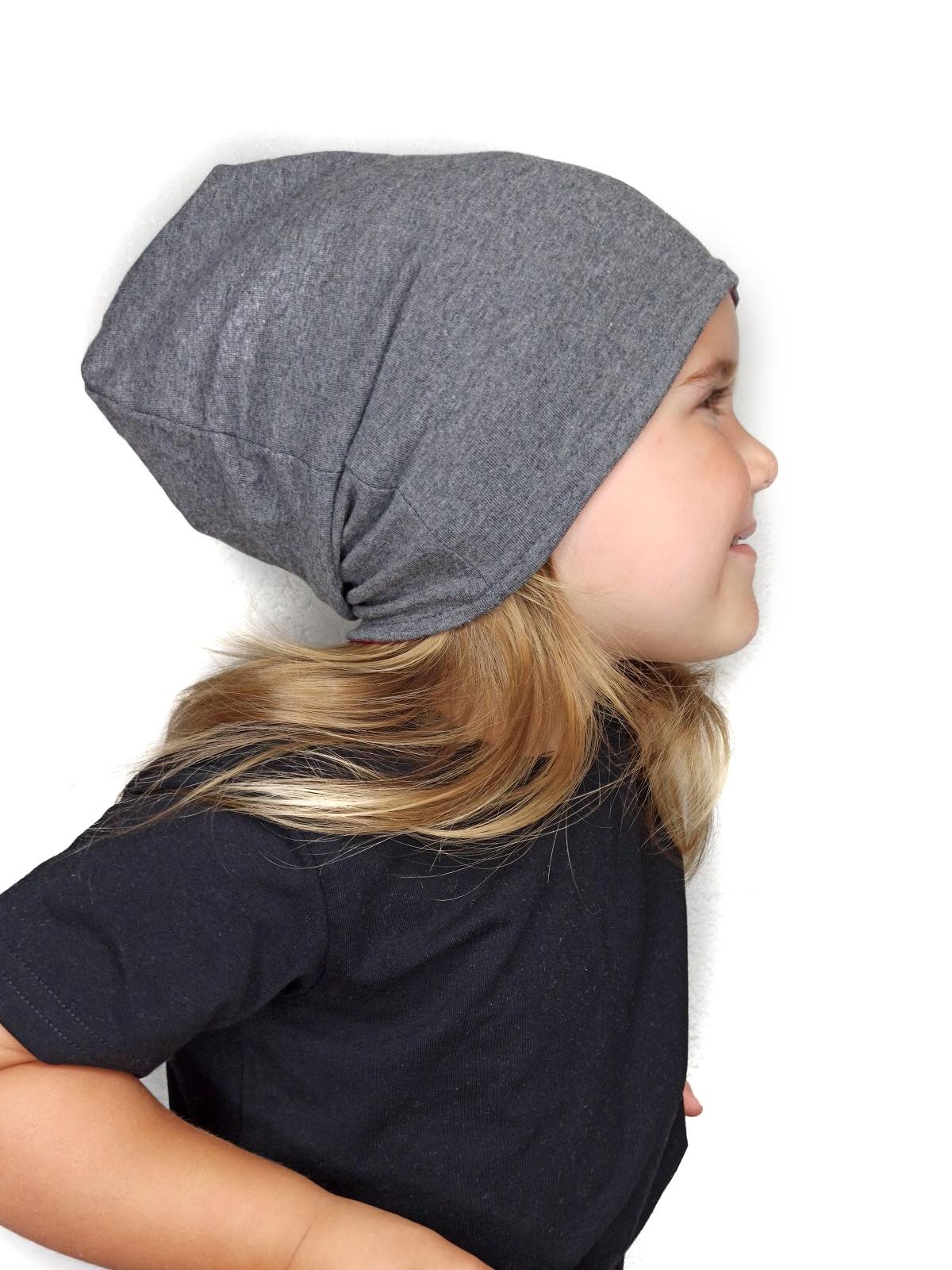 Dětská čepice bavlněná, oboustranná, tmavý+světlý šedý melír, s