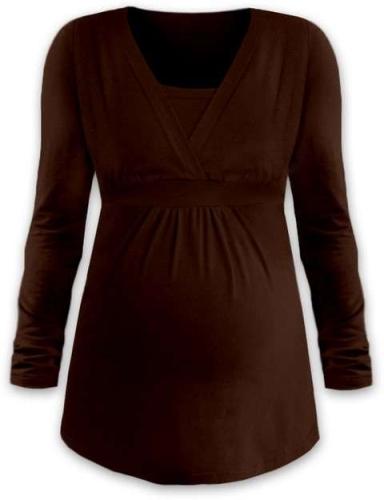 Tehotenská a dojčiace tunika Anička, dlhý rukáv, hnedá