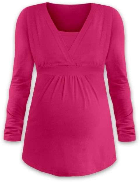 Těhotenská a kojicí tunika anička, dlouhý rukáv, sytě růžová l/xl