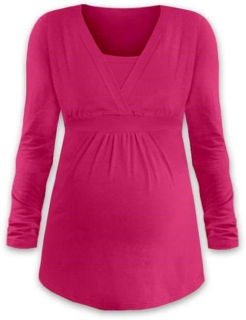 Těhotenská a kojicí tunika Anička, dlouhý rukáv, sytě růžová