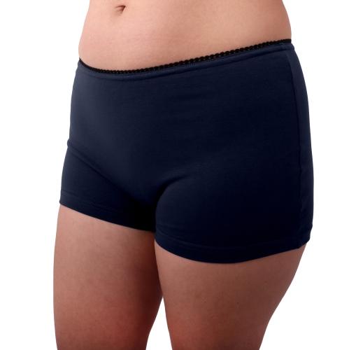 Dámské kalhotky bavlněné, nohavičkové, tmavě modré