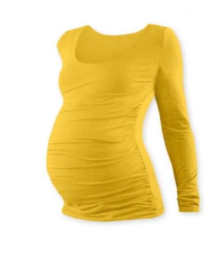Tehotenské tričko Johanka, dlhý rukáv, žltooranžové