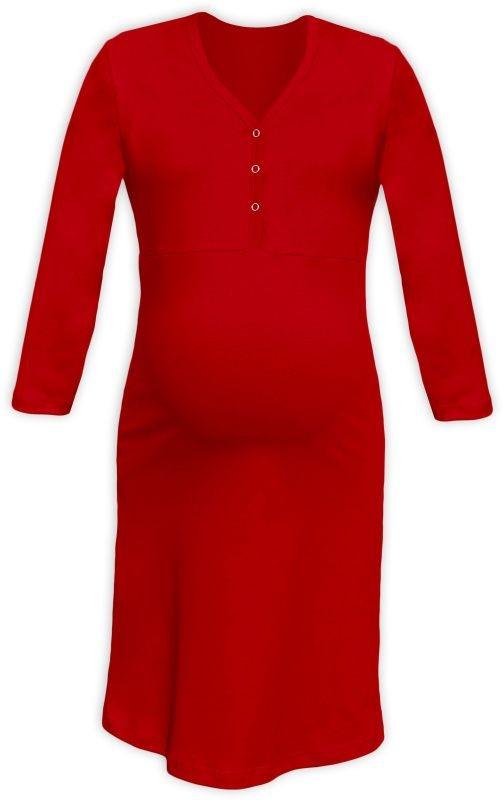 CECILIE- Nachthemd für schwangere und stillende Frauen, 3/4 Ärmel, rot