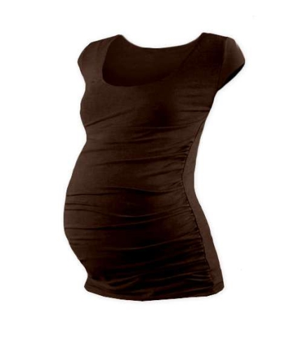 Tehotenské tričko Johanka, mini rukáv, hnedé