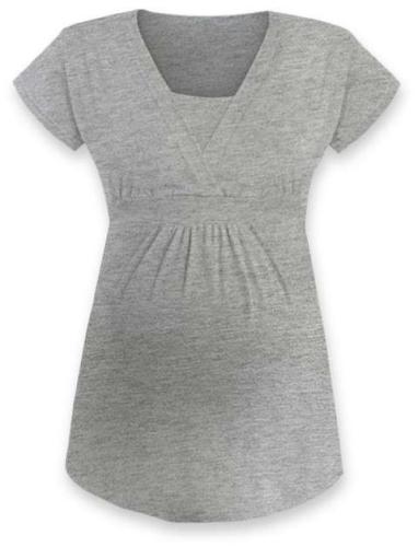 Tehotenská a dojčiace tunika Anička, krátky rukáv, sivý melír