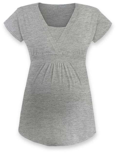 Těhotenská a kojicí tunika Anička, krátký rukáv, šedý melír