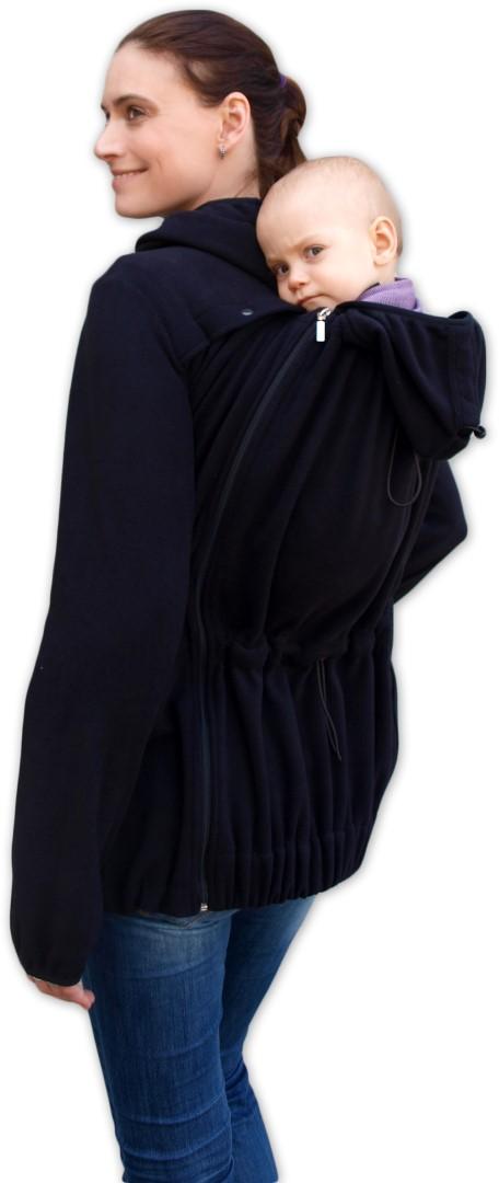 NELA- nosící fleece mikina s kapucí ( přední/zadní nošení ), černá
