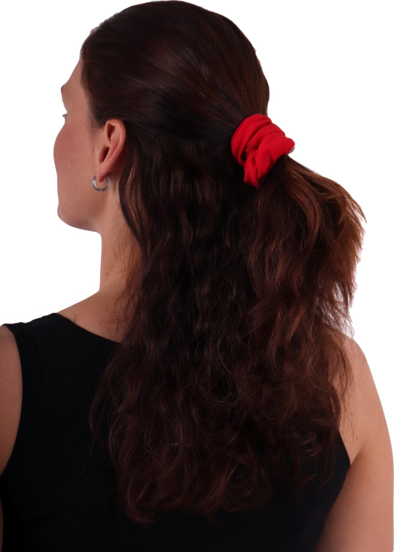 Látková gumička do vlasů, velká, červená
