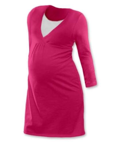 Dojčiace nočná košeľa Lucie, dlhý rukáv, sýto ružová