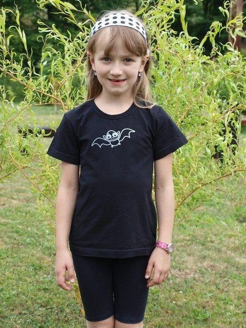 dětské tričko s KR, černé, NETOPÝR